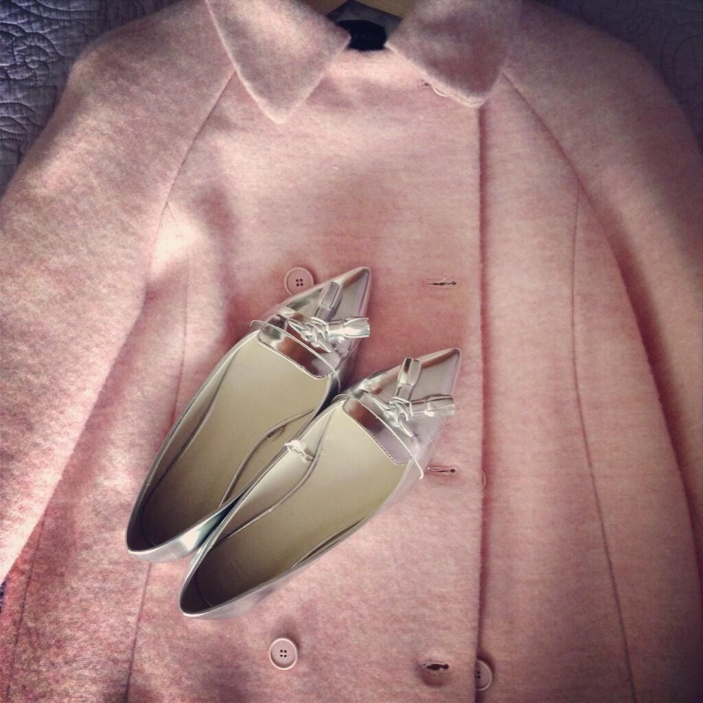 Pink Coat & Silver Flats